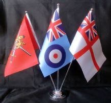 BRITISH ARMED FORCES - DELUXE SATIN TABLE FLAG SET